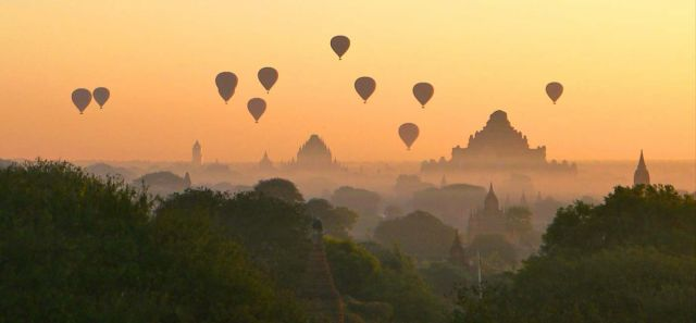 Sunrise from Hot Air Balloon in Bagan
