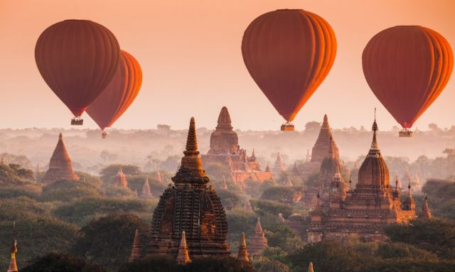 Temples & Pagodas from Hot Air Balloon in Bagan