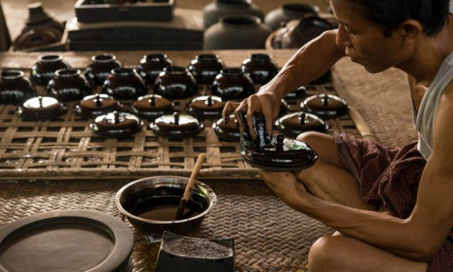 Lacquerware Workshop in Bagan